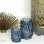 Sininen lampokynttilalyhty LIGHT & LIVING Tealight GRACE 9x13 cm ja 7x8 cm.